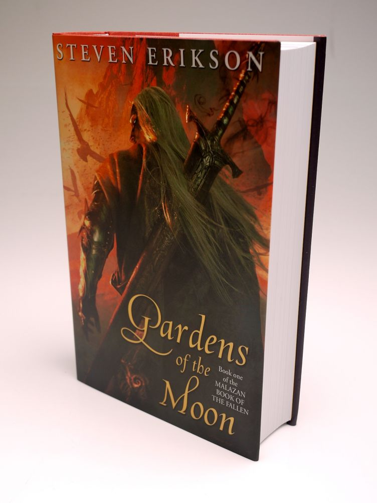 Gardens of the Moon by Steven Erikson (2009) cover shot #1 with Michael Kormark illustration of Anomander Rake, the Tiste Ande, and his sword Dragnipur.