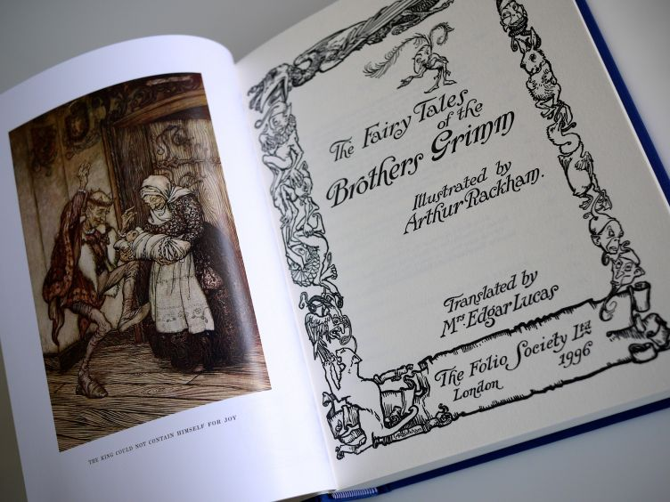 The Fairy Tales of the Brothers Grimm title page and frontispiece.