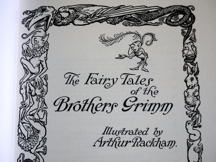 The Fairy Tales of the Brothers Grimm close-up of the title page.