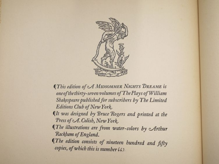 A Midsummer Night's Dream by William Shakespeare with Illustrations by Arthur Rackham (1939) colophon.