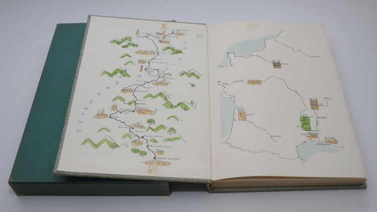 Travels With A Donkey in the Cévennes by Robert Louis Stevenson (1957) map endpapers.
