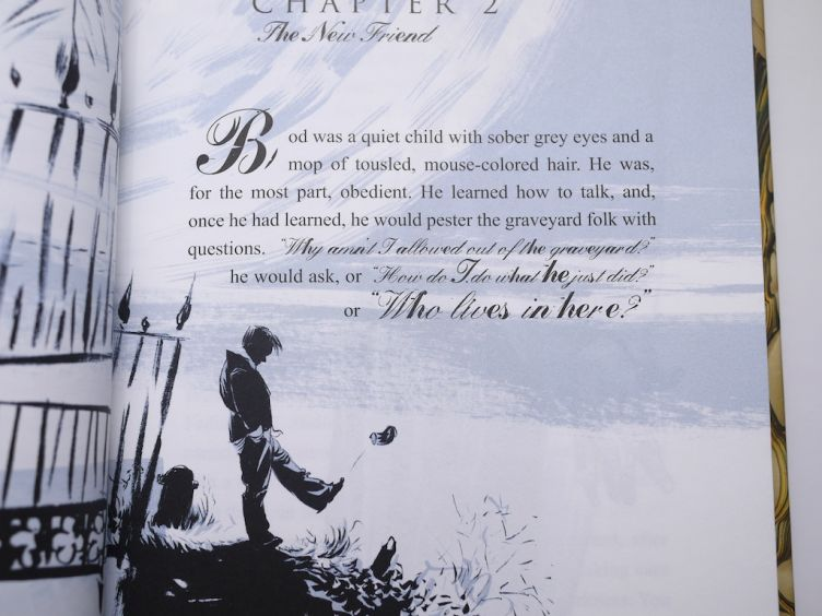 The Graveyard Book by Neil Gaiman with illustrations by Dave Mckean (2008) additional Dave McKean artwork at the start of Chapter 2.