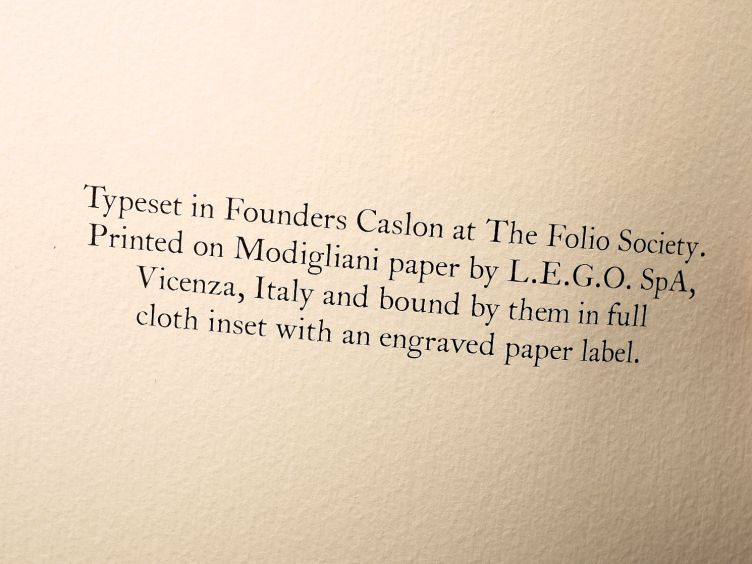 The Wind in the Willows by Kenneth Grahame (2005) colophon. Note the texture of the Modigliani paper.