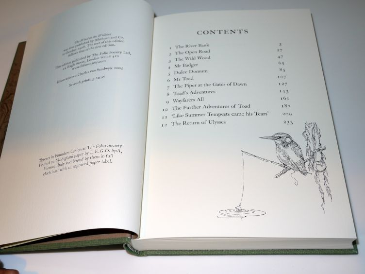 The Wind in the Willows by Kenneth Grahame (2005) contents page.