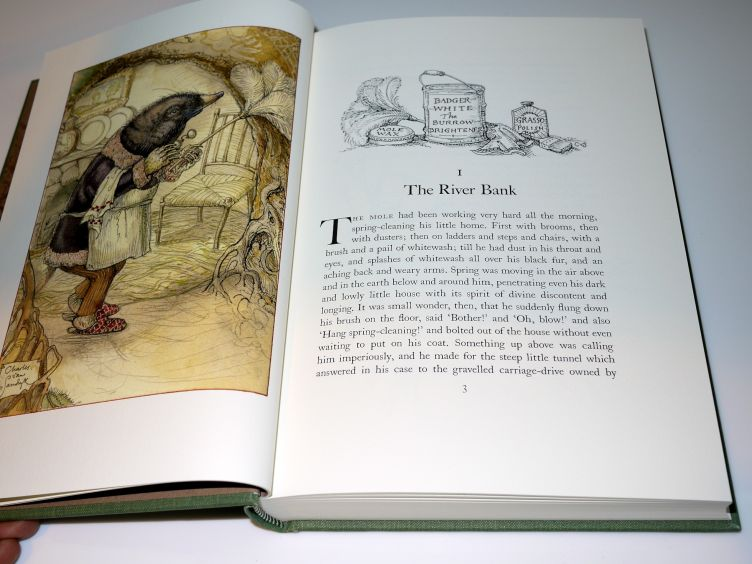 The Wind in the Willows by Kenneth Grahame (2005) sample illustration and illustrated chapter head.