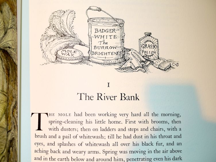The Wind in the Willows by Kenneth Grahame (2005) closeup of illustrated chapter head from Chapter 1.