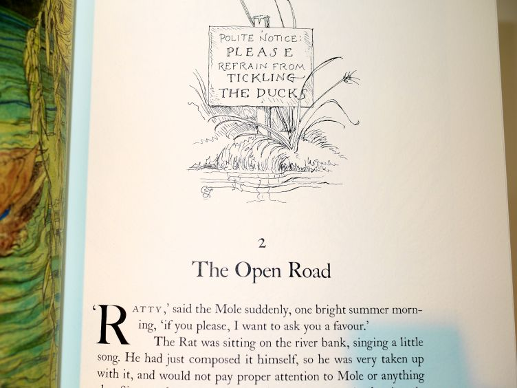 The Wind in the Willows by Kenneth Grahame (2005) illustrated chapter head from Chapter 2.