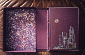 Traycase holding leather-bound signed limited edition of Martian Chronicles by Ray Bradbury