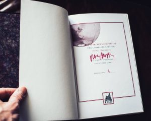 Ray Bradbury's signature on limitation page with Hill house logo for PS Publishing and Subterranean Press book