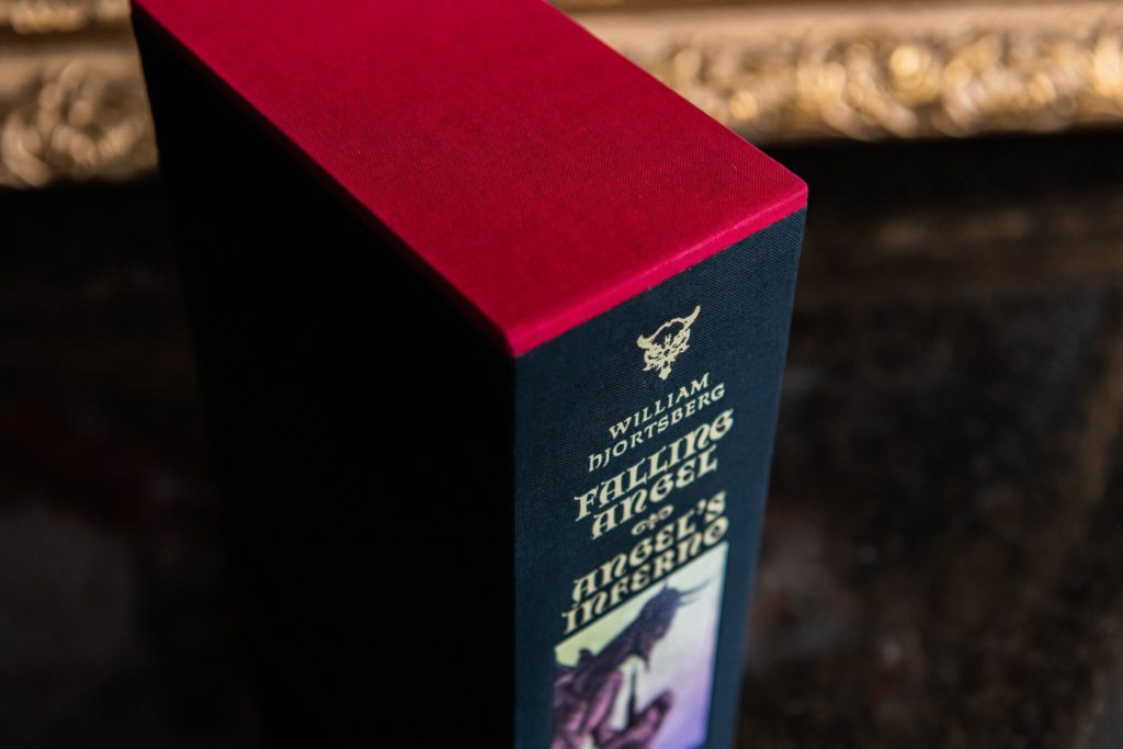 Close up of slipcase for Falling Angel and Angel's Inferno from Centipede press