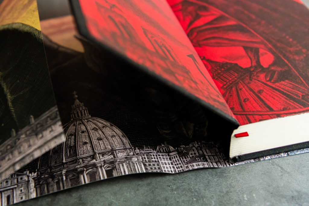 Dust jacket showing reverse print from Angel's Inferno from Centipede Press