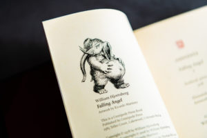 Creepy black and white elephant in Falling Angel from Centipede press