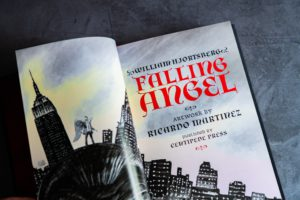 Two page spread in colour of the title page for Centipede Press' Falling Angel