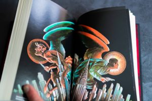 Two page spread of artwork from Falling Angel from Centipede Press