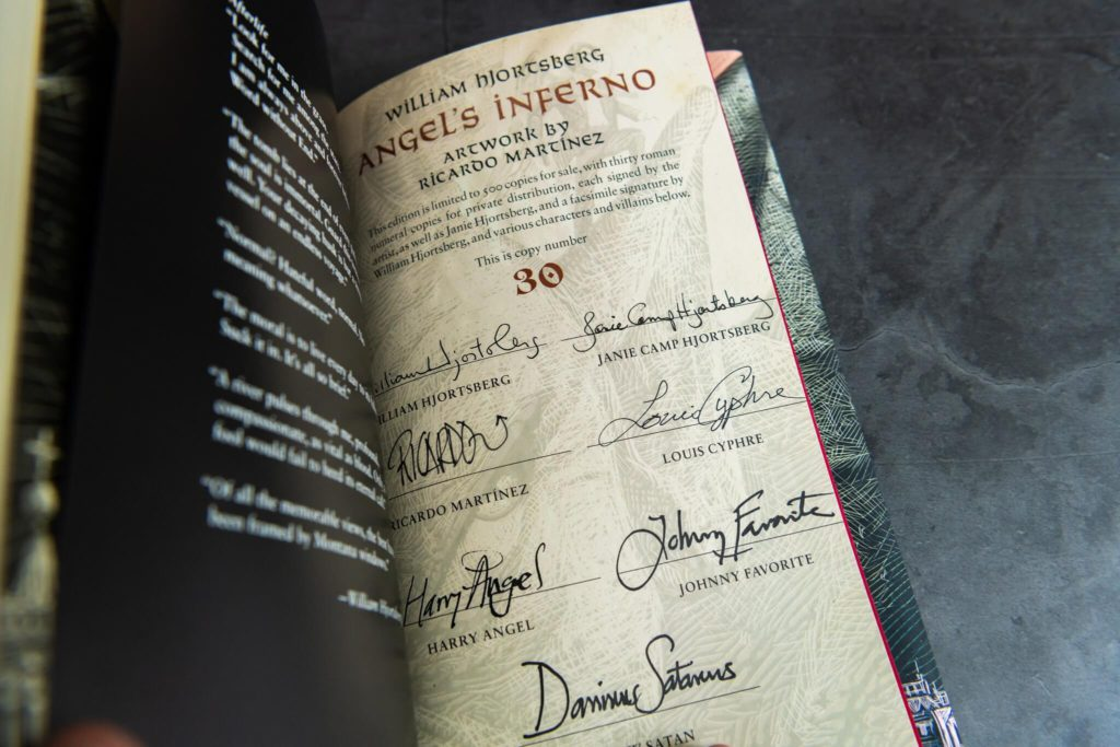 Angel's Inferno signature page with Louis Cyphre, Harry Angel, Johnny Favorite, and the New Satan himself, Dominus Satanus, signing.