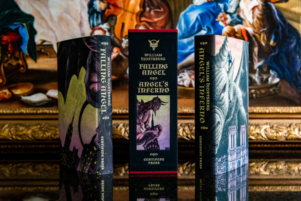 Slipcase and dust jackets from Falling Angel and Angel's Inferno from Centipede Press