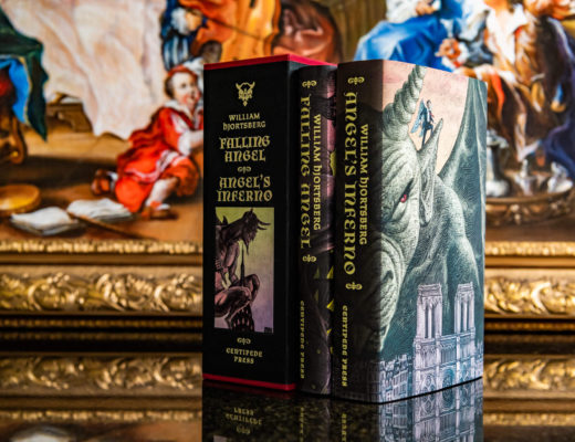 Falling Angel and Angel's Inferno from Centipede Press standing next to the slipcase