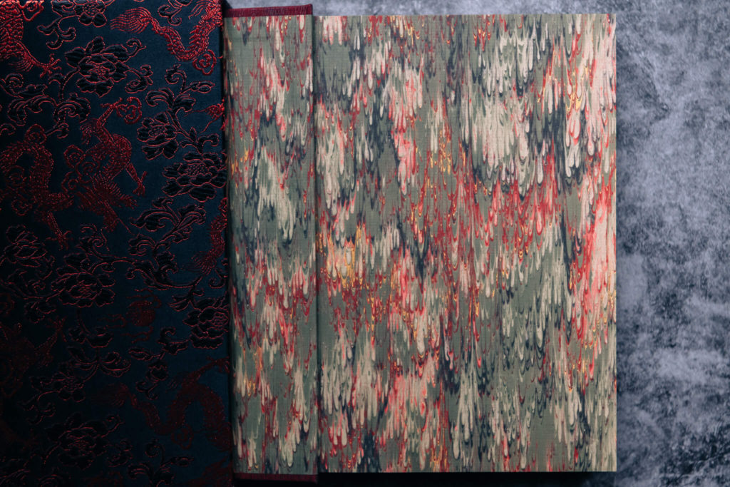 Marbled endpapers of the numbered edition of Red Dragon by Suntup Press