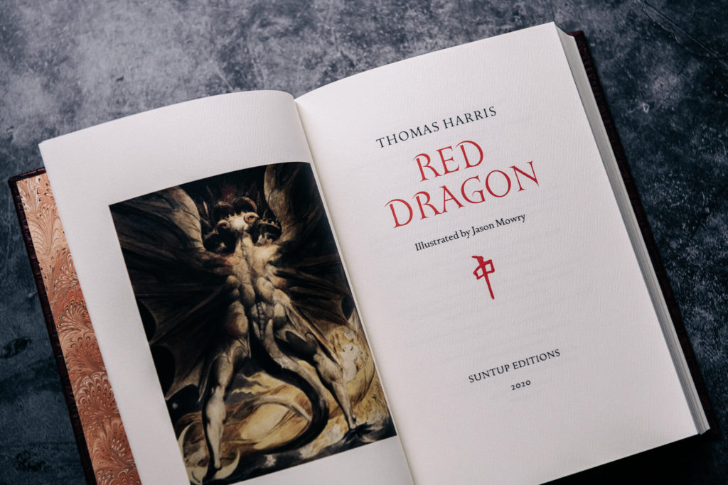 Title page of Red Dragon written by Thomas Harris and published by Suntup Press