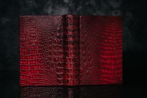 Suntup Press Red Dragon leather binding in darker light