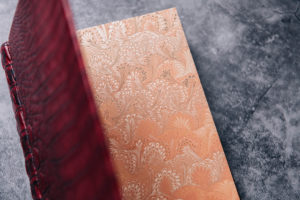 Marbled endpapers of the Suntup Press Red Dragon lettered edition