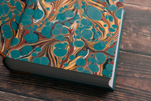 Subterranean Press' Full Throttle by Joe Hill lettered edition marbled end paper detail
